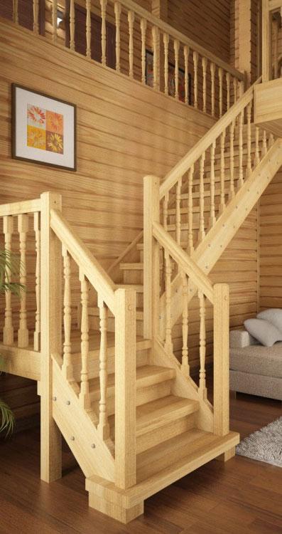 Лестница из дерева на второй